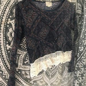 Boho long sleeve crop top